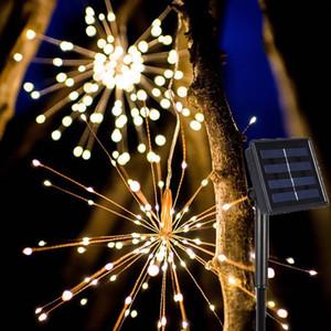 LED Solar Firework Lights,Led String Light 8 Mode DIY Solar Lamps Waterproof 120 200 LED Fairy Lights for Holiday Garden Christmas Wedding