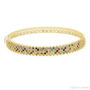 Behomia boho luxury wide band gold plated bangle micro pave colorful cubic zirconia cz gorgeous bracelet