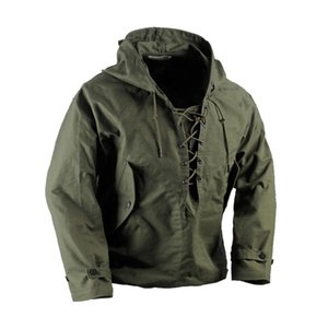 USN Wet Weather Parka Vintage Deck Jacket Pullover Lace Up WW2 Uniform Mens Navy Military Hooded Jacket Outwear Army Green 201125