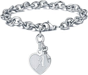 Initial Bracelets - Engraved 26 Letters Initial Charms Bracelet Stainless Steel Bracelet Birthday Christmas Jewelry Gift A-Z F1214