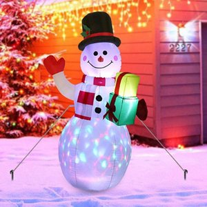 LED Illuminated Inflatable Cute Snowman Air Pump Inflatable Toys Indoor Outdoor Holiday Christmas New Year Party Ornament Decor