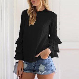 Blusas das mulheres camisas rebufas chiffon blusa manga longa casual streetwear branco preto preto verde tops mulheres blusas verão outono