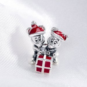 100% 925 Sterling Silver Red Enamel Christmas Gift Present Charm Bead Fits European Pandora Jewelry Charm Bracelets