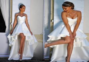 Chic High Low 2021 Wedding Dresses Satin Ruched Beach Boho Style Short Front Long Back Corset Wedding Bridal Gowns Vestidos De Novia