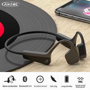 AIKSWE Bone Conduction Headphones Bluetooth الرياضة اللاسلكية سماعة IP56 سماعة ستيريو خالية من الأيدي مع ميكروفون للجري