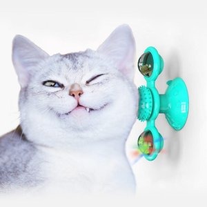 Rotate Windmill Cat Toy Training function Pet Toothbrush Built-in with Luminous Ball and Catnip