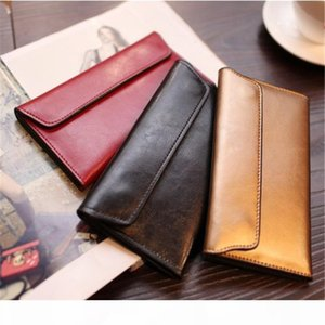 New European and American wallet with leather buckle, simple business cowhide and thin wallet in 2018