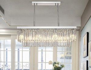 Modern rectangle chandelier light  crystal Chrome Chandeliers indoor lighting Kitchen Island LED hanging lamps fixture