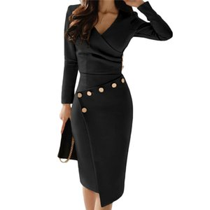 High Waist Sexy Party Dresses Womens Solid Color V Neck Asymmetry of Folds Long Sleeve Bodycon Dress For Women