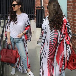 Blouse 2019 New Brand Womens Floral Loose Kimono Cardigan Boho Beach Long Sleeve Chiffon Tops Long Coat Blouse
