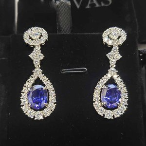 Sapphire Ruby Synthetic Emerald Earrings Sparkling Full High Carbon Diamond Fine Jewelry
