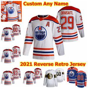 Edmonton Oillers 2021 Обратная ретро хоккейные трикотажные изделия Kailer Yamamoto Tyson Barrie Evan Bouchard Philip Broberg Caleb Jones Custom Shist