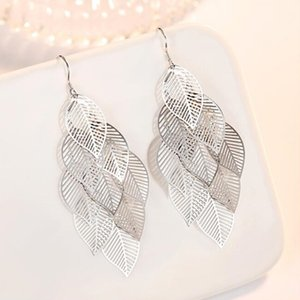 sterling silver Jewelry High Quality Fashion Woman Earring Retro Hollow Maple Leaf Exaggerated Long Tassel Hanging