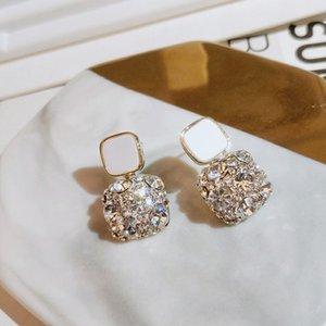 New Fashion Wedding Earrings For Women Vintage Gold Color Shining CZ Zircon Earring Female Geometric Square Dangle Drop Earring