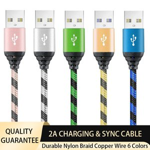 2A Hızlı Şarj Kablosu 1 M 3ft Dayanıklı Naylon Fiber Örgülü Veri Sync Kabloları Tip-C Mikro USB Evrensel Hızlı Şarj Kablosu