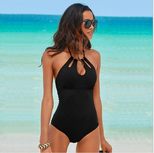 Swimsuit new women's sexy solid color one-piece swimsuit leaking chest bikini neck European and American swimwear