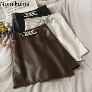 Nomikuma Irregular PU Leather Women Skirt Korean Chain Patchwork High Waist Skirts Causal A-line Mini Bottoms Mujer Faldas 6D321
