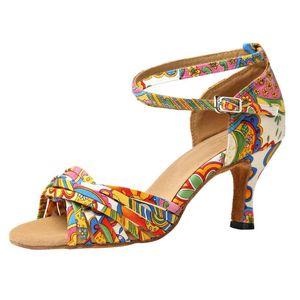 Women Satin Latin Ballroom Shoes Pattern Print Latin Ballroom High Heeled Sandals Dance Shoes Salsa Sandals Female Tango#BL5