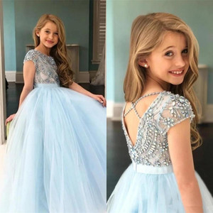 Shiny Criss Cross Backless Little Girl Pageant Birthday Gowns with Beaded Rhinestone Short Sleeves Flower Girls' Dresses for Weddings AL7813