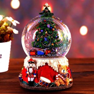Rotatable Luminous Music Boxes Crystal Ball Resin Music Box With Light Christmas Tree Christmas Gift For Friend Home Decoration