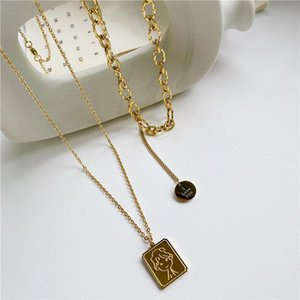 Titanium Steel Little Prince Rectangle Cartoon Lucky Double Layer Sweater Chain Ladies Wild Temperament Sweet Necklace