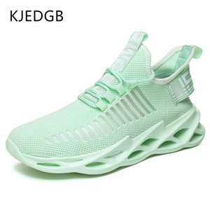 Kjedgb hombres zapatillas de deporte ultraligero tendencia cómodo transpirable zapatos casuales zapatos entrenadores verde grande tamaño 11 12 201125