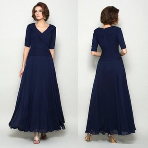 Plus Size Dark navy Blue Mother Of The Bride Dresses V Neck Full Length Half Sleeve Wedding Guest Dresses A Line Cheap Evening Gowns