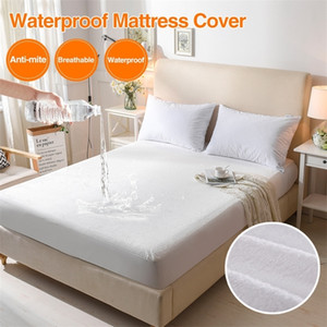Bed Cover Cotton Terry Matress Cover 100% Waterproof Breathable Mattress Protector Bed Anti-mite Mattress Pad Cover for Mattress 201218