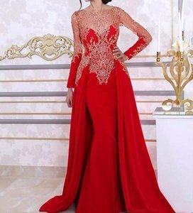 2021 Kaftan Red Mermaid Prom Dresses Long Sleeves Removable Overskirt Appliques Lace Crystals Arabic Dubai Dresses Evening Wear Formal Gowns