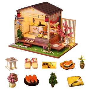 Japanese Style Doll House Miniature DIY Dollhouse With Furnitures 7-15 Years Old DIY Wooden House Toy For Children Birthday Gift 201217