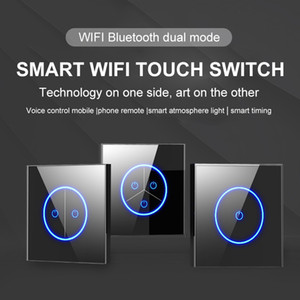 Bluetooth+wifi dual mode Smart wifi switch panel voice touch switch wifi mobile remote timing aperture wall switch with Amazon Google home