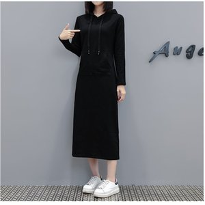 women's dress autumn and winter clothes new Plus size style hooded long-sleeved womens fashion dress over-the-knee dress loose long skirt