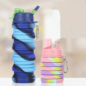 500ML Portable Collapsible Bottle with Lid Foldable Drinking Water Bottle Large Capacity Outdoor Silicone Folding Water Bottle
