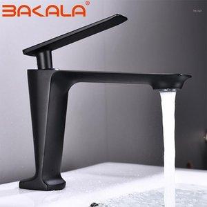 Bakala Black / White Blain Wasserhahn Moderner Badezimmerhahn Gemalt Messing Single Griff Single Loch Heißes und kaltes Deck1
