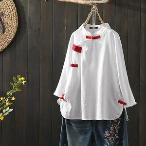 Womens Autumn Blouse 2020 ZANZEA Elegant Plate Buttons Shirts Chinese Style Linen Tops Female Solid Blusas Plus Size Tunic 5XL
