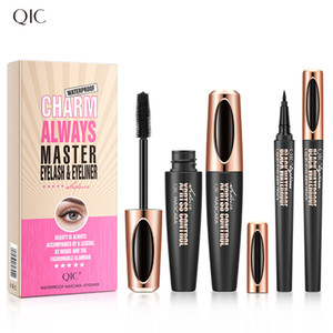 QIC New Liquid Eyeliner Pencil+4D Waterproof Mascara Set Cosmetics Eye Liner Thick Curling Mascara Eyebrow Pencil Eyes Makeup .in stock