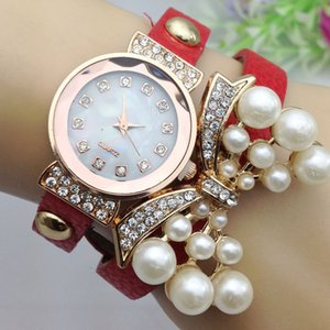 Gifts for girl bow bracelet watches with casual set auger women pearl lady dress watch Famous Brand full diamond Jewelry