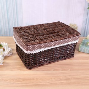 Bamboo woven household goods storage basket garden cloth box table top storage frame