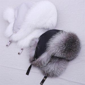 Suppevsttdio Chapéu de pele real 100% para mulheres natural prata raposa pele russo urshanka chapéus inverno espesso quente espigas moda bombardeiro tampão t200104