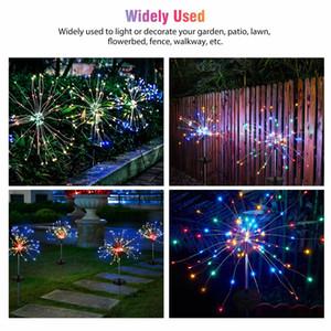 1 2pcs Solar Firework Starburst Fairy Lights Stake Outdoor Garden Path Lawn Lamp