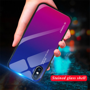 Gradient Tempered Glass Phone Case For iPhone XR XS MAS XS 7 8 Plus 6 6s Plus Cover Protective Fundas