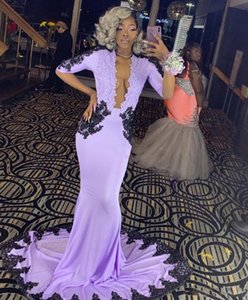 2021 Half Sleeve Purple Mermaid Evening Dresses Newly Black Girls Prom Graduation Gowns Black Appliques Open Back Night Dresses