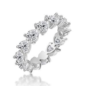 QYI echte 925 Sterling Silber Ring Herz sehr glänzende Sona Stein Fingerringe für Frauen Hochzeitstag Jubiläumsschmuck Y1124