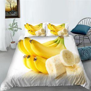 Fruit Banana Strawberry Pattern King Queen Juego de ropa de cama con funda de almohada para la colcha de dormitorio Ubicación de la cubierta de edredón 2 / 3pcs