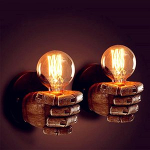 Vintage E27 LED Resin Fist Wall Lamp Retro Corridor Bedside Bedroom Indoor Wall Light Right Fist and Left Night Lamp