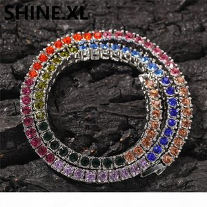 4mm Multicolor Tennis Chain Necklace Exaggerated Personality Imitation Gold Silver Diamonds Mens Hip Hop Jewelry Gift
