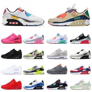 max airmax 90 DESIGNER Mens Running Shoes clássicos dos anos 90 Infrared Triplo Branco preto produzido mulheres Formadores marca de moda tênis amarelo Sports Shoes