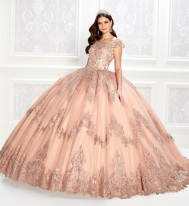 Rose Gold Ball Gown Quinceanera Dresses Lace Appliques Bodice Corset Sequins Prom Dress Scoop Neck Gorgeous Sweet 15 Gowns Lace-up