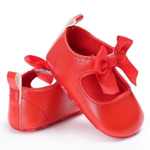 Toddler Infant Sneakers 2020 Newborn Baby Girls First Walkers Bow Non-slip Crib Bow Shoes Soft Sole Party Prewalkers PU Shoes 0-18M