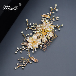 Miallo Vintage Gold Austrian Crystal Wedding Hair Accessories Bridal Hair Ornaments Women Hair Comb Clips Flowers Headpieces F1211